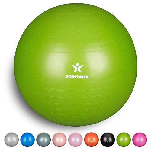 BODYMATE Gymnastikball mit GRATIS E-Book inkl. Luft-Pumpe Lime-Green 85cm