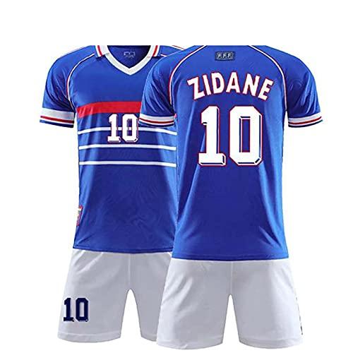 Herren Jungen Fußballtrikot Anzüge, 1998 Frankreich 10 Zidane Fußballuniform, Atmungsaktiv Schnelltrocknend...