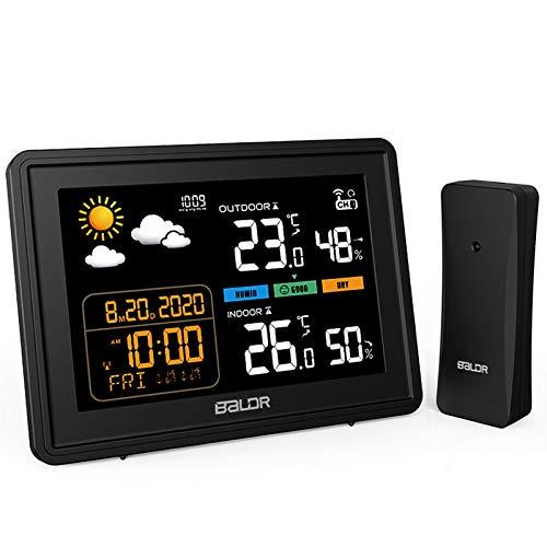 BACKTURE Wetterstation mit Außensensor Digitale Farbdisplay DCF Funkuhr Thermometer Hygrometer...