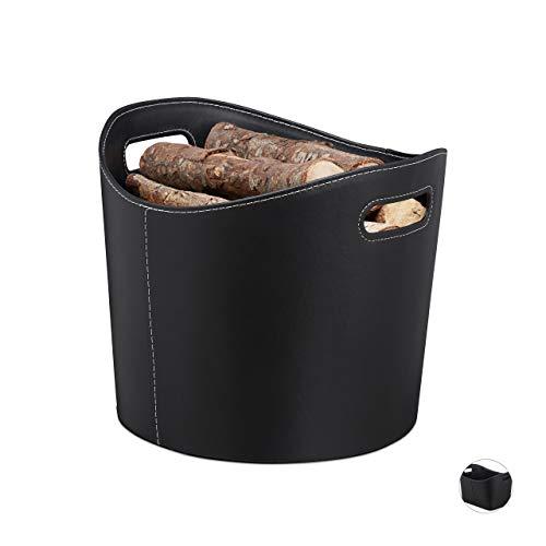 Relaxdays, schwarz Kaminholzkorb Kunstleder L, Stabiler Feuerholzkorb mit Tragegriffen, für Brennholz &...