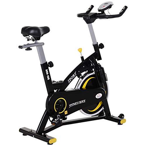 HOMCOM Fahrradtrainer mit stufenlosem Widerstand, Heimtrainer mit 10KG Schwungrad, Indoor Cycling Bike,...