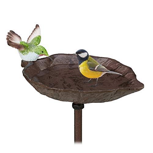 Relaxdays Gusseisen Vogeltränke zum Stecken, mit Erdspieß, Gartendeko, Vogelfutterstelle, Wasserschale, 1 m...