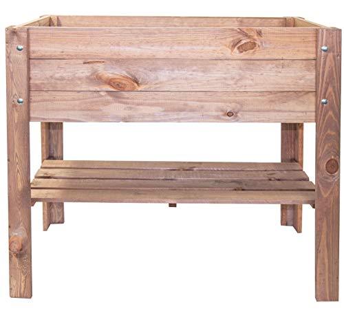 mgc24® Hochbeet - Kiefernholz Dunkelbraun rechteckig, für Garten/Terrasse/Balkon - 80 x 37,6 x 78 cm mit...
