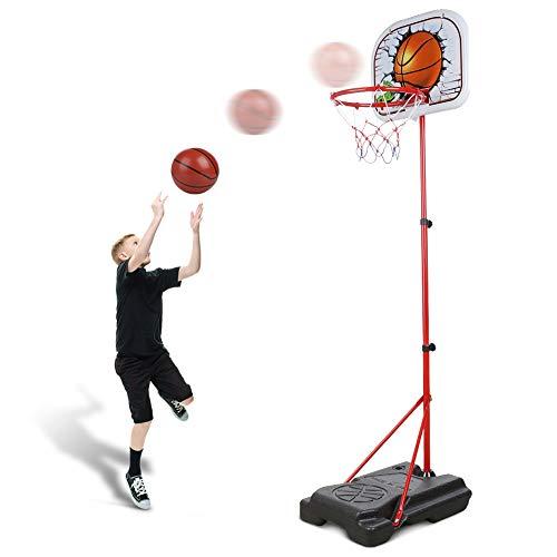 Abree Kinder Einstellbar Basketballkorb von 80 bis 170 cm mit Ständer Basketballständer für 3-12 Jahre