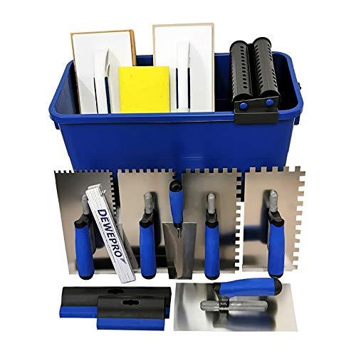DEWEPRO® Fliesenwaschset - 16-teiliges Fliesenleger Waschset XL - 22l Waschbox - Zahnkellen - Schwammbrett -...