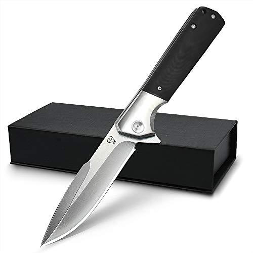 NedFoss Survival Klappmesser aus D2 Stahl schwarz - Scharfes Outdoor Survival Messer - Outdoormesser mit...