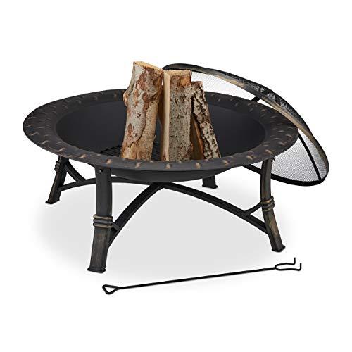 Relaxdays Feuerschale mit Funkenschutz, HxD: 52 x 90 cm, mit Schürhaken, Garten & Terrasse, Outdoor...