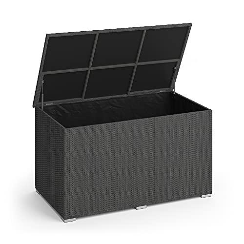 Oskar XXL Polyrattan Kissenbox 950L Auflagenbox Gartenbox Gartentruhe (Anthrazit)