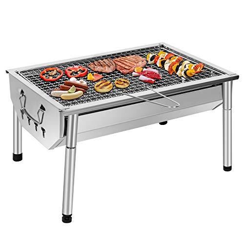 Sunjas Picknickgrill Edelstahl Holzkohlegrill Kleiner Grill Portable Campinggrill Abnehmbare BBQ Grills fr...