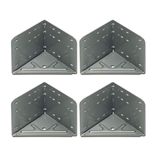 VASALAT VAS203 Winkel Bettwinkel Eckverbinder Stahl silbergrau, 4 Stück,115 x 115 x 133 mm, Silber