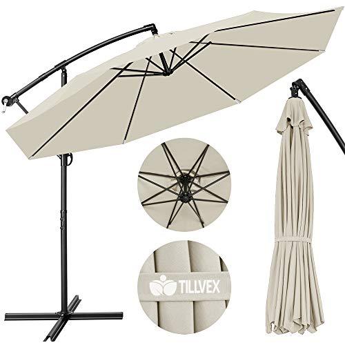 tillvex Sonnenschirm Beige Ø 300 cm mit Kurbel | Ampelschirm mit Ständer | Gartenschirm UV-Schutz Aluminium...