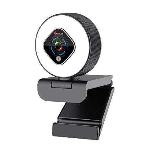 Streaming 1080P Webcam mit Ringlicht und Dual-Mikrofon, Webcam mit 5 Stufen digitalem Zoom, fortschrittlicher...