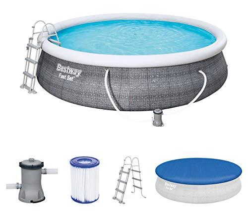 Bestway Komplettset Fast Pool 457x457x107 cm, Gartenpool selbstaufbauend mit aufblasbarem Luftring rund im...