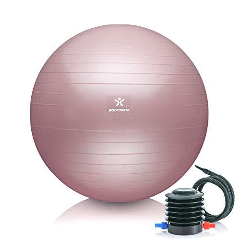 BODYMATE Gymnastikball Sitzball Trainingsball mit GRATIS E-Book inkl. Luft-Pumpe, Ball für Fitness, Yoga,...