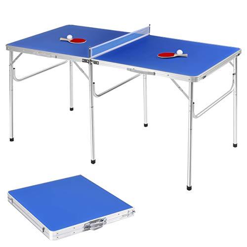 GOPLUS Tischtennisplatte klappbar, Tischtennistisch, Tischtennis Platte mit Netz, Zwei Schlägern und Bällen,...