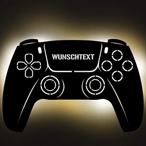 Gaming Controller 5 Lampe aus Holz - personalisierbares Geschenk für Männer - Gaming Zimmer Deko - Gamingpad...