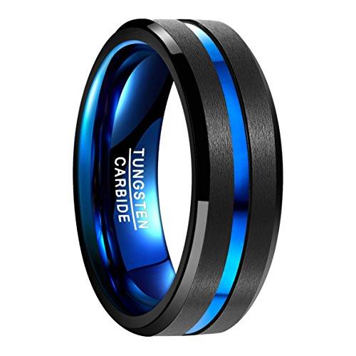 NUNCAD Ring aus hochwertigem Wolfram, schwarz﹢blau, polierte Oberfläche mit blauem Groove, Außenbreite 8mm...