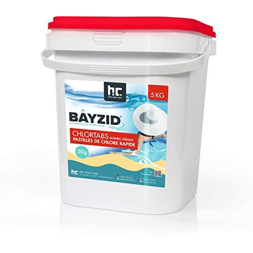 5 kg HOCHEFFEKTIVE Pool Chlor Tabletten 20g BAYZID schnell löslich mit 56% Aktivchlorgehalt für Pool &...