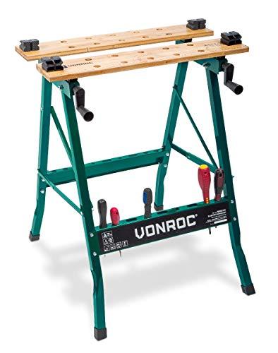 VONROC Werkbank - Spanntisch - Mit Bambus-Arbeitsplatte, maximale Belastbarkeit 150 kg