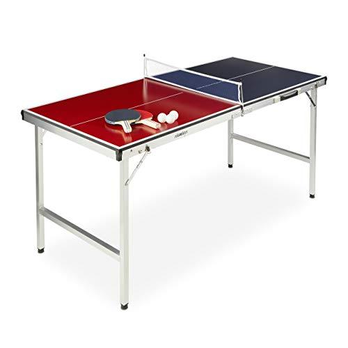 Relaxdays Klappbare Tischtennisplatte, tragbar, Netz, 2 Schläger, 3 Bälle, Alu, MDF, HBT: 67,5 x 151 x 67,5...