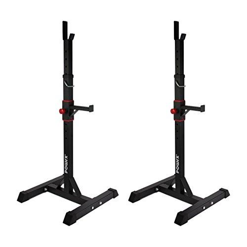 POWRX Hantelablage Paar   Hantelständer für Langhantel   Ständer höhenverstellbar   belastbar bis 100 kg