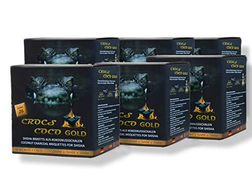 CROCS COCO Gold I Kokosnuss Kohle mit Langer Brenndauer I Grillkohle 26x26mm I wenig Asche I geringer...