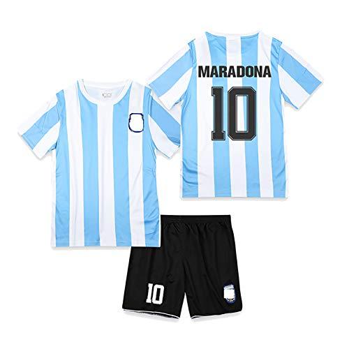 CWWAP Retro 1986 Argentinien Fußballuniform Maradona 10 Fußballtrikot Fußballtrikot-Kits für Unisex...