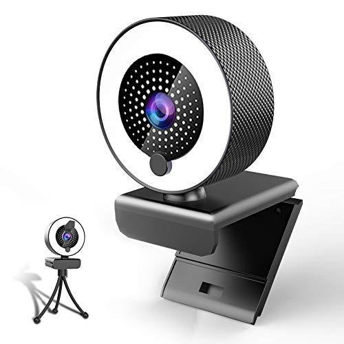 MHDYT 2K Webcam mit Mikrofon und Ringlicht HD Facecam mit Abdeckung und Stativ für PC/MAC/Laptop/Desktop, USB...