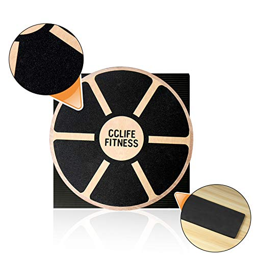 CCLIFE Balance Board 40cm Holz Wackelbrett Balance Kunststoff für Fitness Physiotherapie zur Stärkung der...