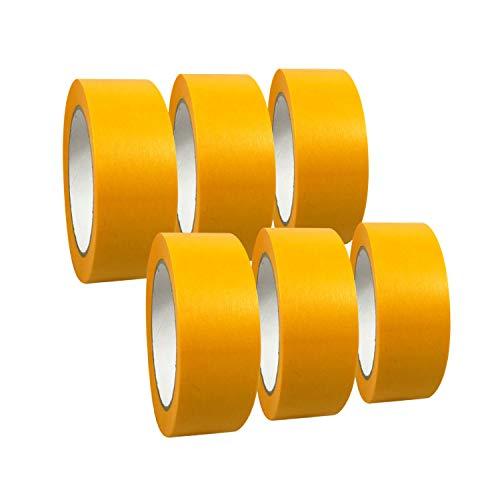 6 Rollen Goldband 'Premium' Abdeckband/Gold Kreppband/Abdeckdeckband/Malerkrepp, Abmessungen:38 mm x 50 m