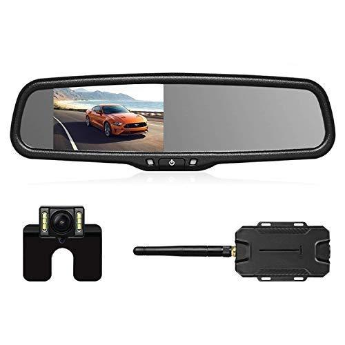 AUTO-VOX T1400W Wireless Rückfahrkamera Set, Kabellose Einparkhilfsystem, Rückspiegel Monitor mit Backup...