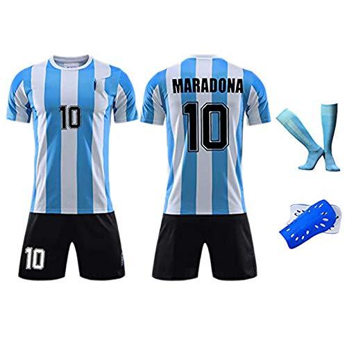 HQAZ Retro 1986 Argentinien-Fußballuniform, Maradona 10, Fußball-Hemd-Kits für Erwachsene Kinder,...
