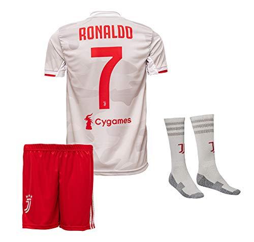 Juve Ronaldo Trikot Set #7 Auswärts 2018/19 Kinder Fussball Trikot Mit Shorts und Socken Kinder (176)