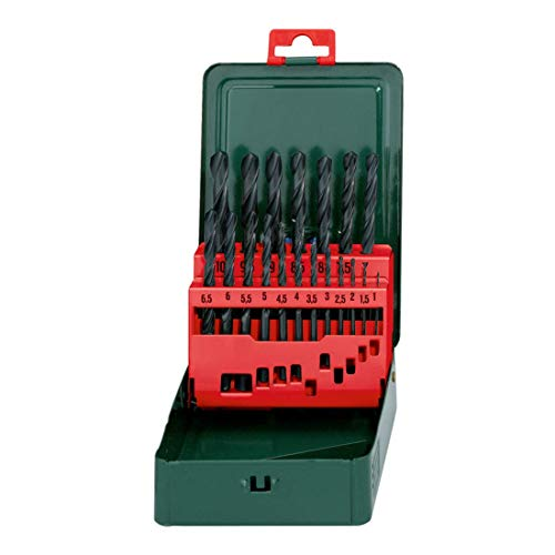 Metabo HSS-R Bohrerkassette, 19-teiliges Spiralbohrer Set nach DIN 338, rollgewalzt / zylindrisch /...