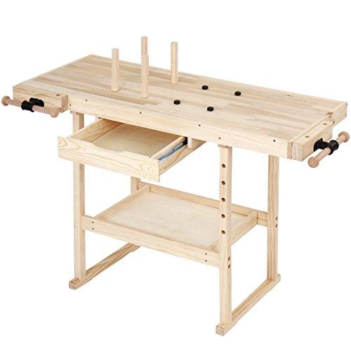 TIMBERTECH® Hobelbank - 127 x 58 x 83 cm, aus Holz mit Spannzange, Schraubstock und Schublade, bis 200 kg...