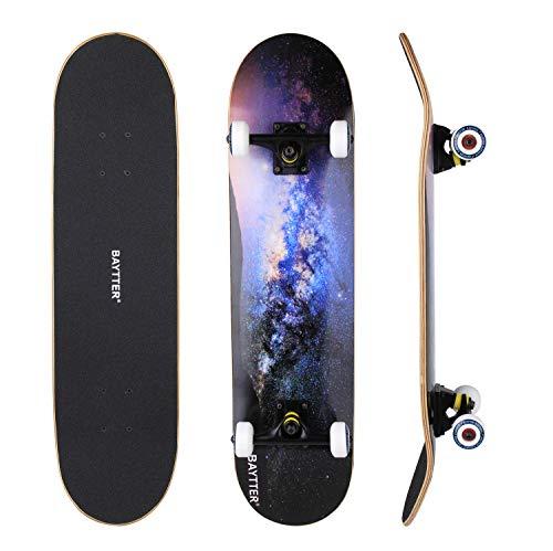 BAYTTER® Skateboard Komplett Board Funboard 79x20cm mit 7-lagigem Ahornholz und ABEC-11 Kugellager 95A...
