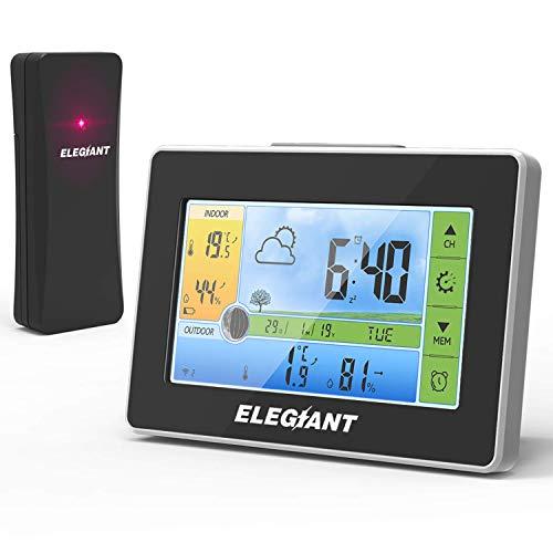 ELEGIANT Wetterstation mit Funk Außensensor, Digitaler Thermometer-Hygrometer für Innen Außen, Mondphasen,...