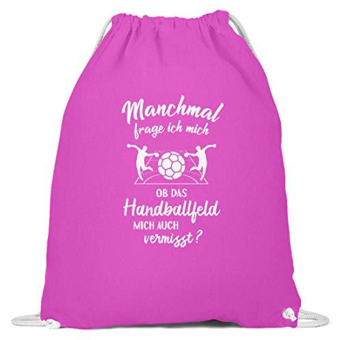 shirt-o-magic Handballer: Ob Handball mich vermisst? - Baumwoll Gymsac -37cm-46cm-Fuchsia
