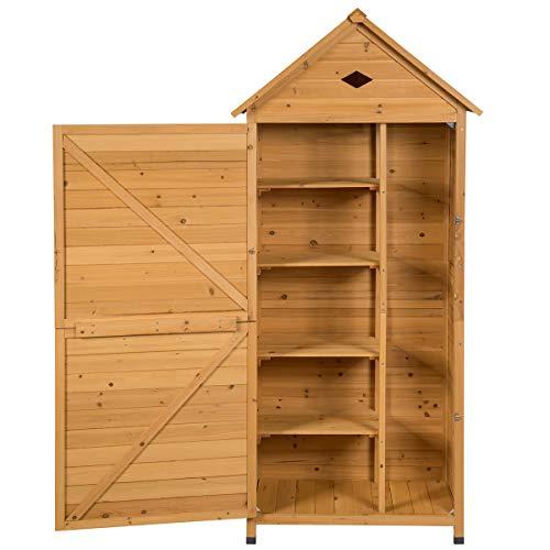 COSTWAY Gartenschrank Holz, Gerätehaus wetterfest, Geräteschuppen Werkzeugschrank Garten, Holzschuppen mit...