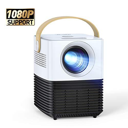 Mini Beamer, APEMAN Support 1080P Video Projektor, ±30° Fern Elektronische Korrektur, Dual Lautsprecher,...