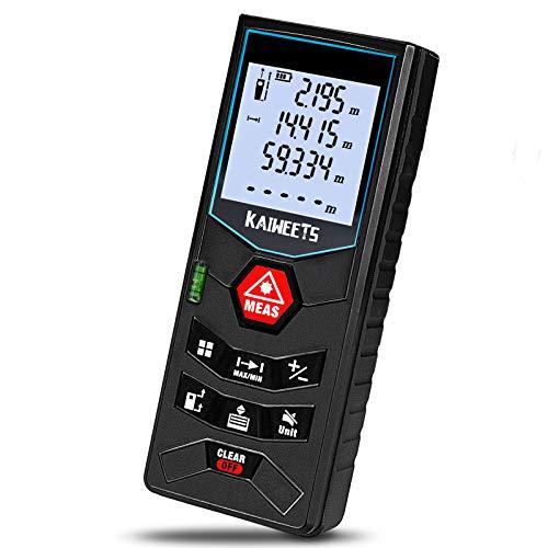 Laser-Entfernungsmesser 60M, Kaiweets Distanzmessgerät(Flächen-/Volumen/Pythagorasberechnung, Messbereich:...
