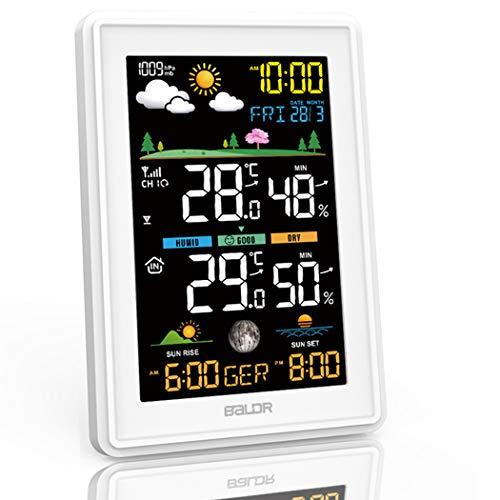 Konsen Wetterstation Farbdisplay mit Außensensor für innen-außen, DCF-Funkuhr Multifunktionale...