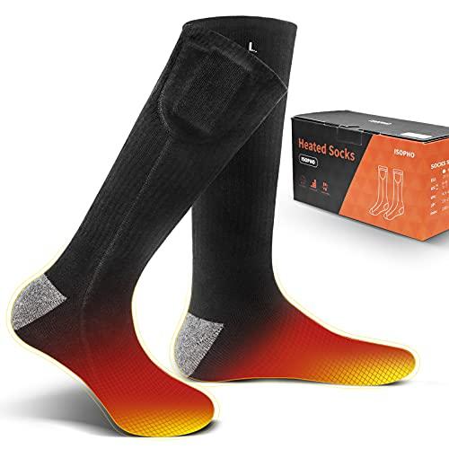 ISOPHO Beheizbare Socken für Herren Damen 3.7V 3500mAh Beheizte Socken Heizbare Socken Heated Socks...