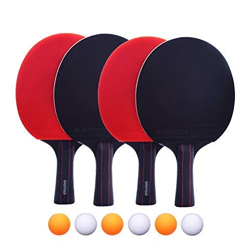 Easyroom 4 Tischtennis-Schläger und 6 Tischtennis-Bälle, Premium Tischtennis-Set, 4 Tischtennisschläger,...