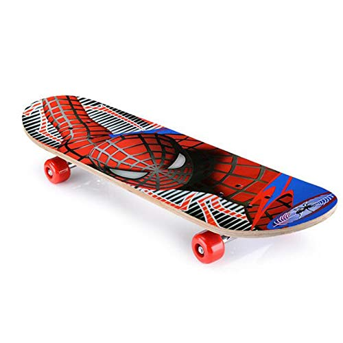 CYSHAKE Kinder Skateboard Spiderman Longboard Ahorn Doppel Rocker Kinderkreuzer Skateboard
