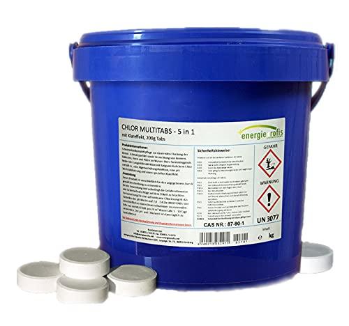 energieprofis 10 kg (2 x 5 kg) Chlor Multitabs 5 in 1 Multi Tabs Pool 200g