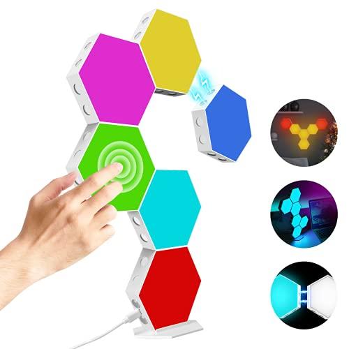 Hexagon Light Panels Kit,DIY Magnetische Hexagon Led Kann Kreative 2D und 3D Formen Erstellen,Mit Ständer und...