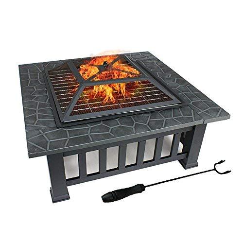 FOBUY Outdoor Metall Feuerstelle Hinterhof Terrasse Garten Platz Herd Fire PIT Feuerschale, 32 ', schwarz