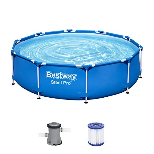 Bestway Steel Pro Frame Pool, 305 x 76 cm, Set mit Filterpumpe, rund, blau