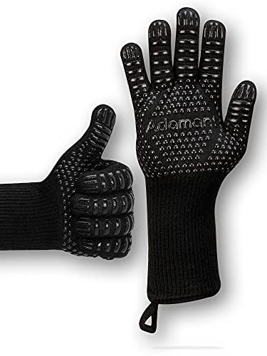Adamant Grillhandschuhe hitzebeständig bis 800 Grad mit Magnetschlaufen extra lang schwarz | Grill Handschuh...